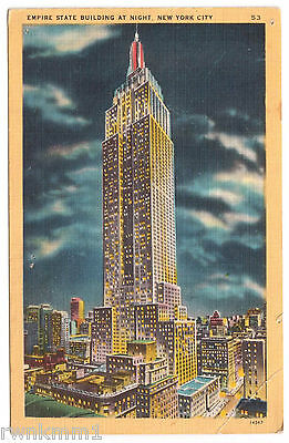AK US USA Post Card Empire State Building at Night  New York