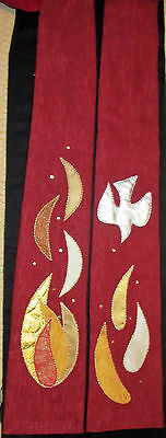 NEW Hand made red clergy stole with dove & flames