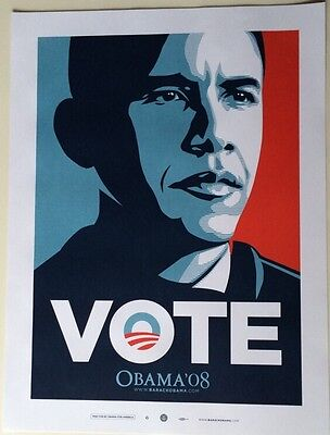 Obama Small VOTE Print Shepard Fairey 2008 Limited Edition, 18x24 Poster