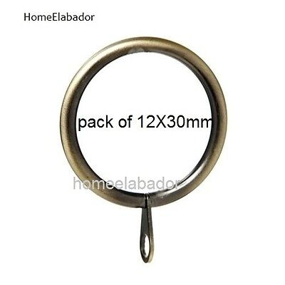 12 X 30mm Strong Metal Curtain Rings with Eyes pole Antique Brass, UK SELLER