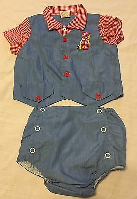 Vintage Baby Boy Outfit sz 3-6 months Blue - Red & White checked