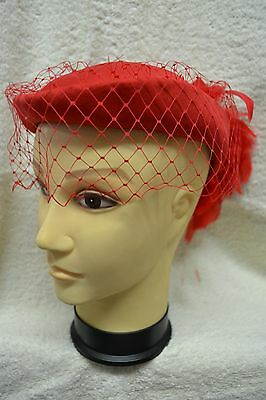Red Vintage Ladies Hat With Feathers