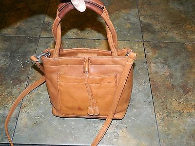 Vintage Fossil Small Satchel &cross Body Bag In Cognac Colored Pebbled Leather