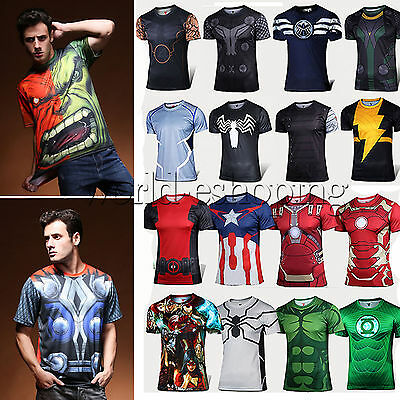 Plus Size Mens Marvel Avengers Super Hero Compression Sports T-Shirt Top Cosplay