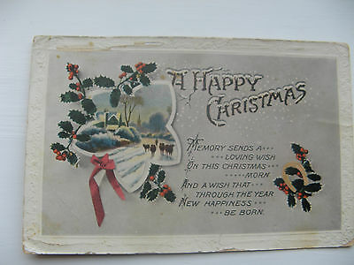 A HAPPY CHRISTMAS - POSTED REAL PHOTO CARD FROM EARLY 1900's