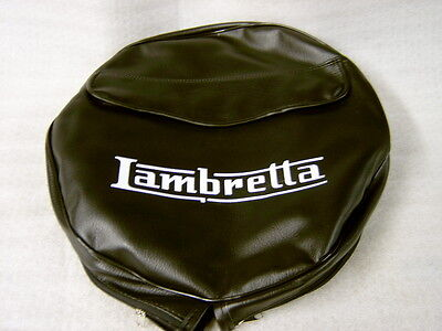 Lambretta Black Spare Wheel Cover With Pocket White Lambretta Script