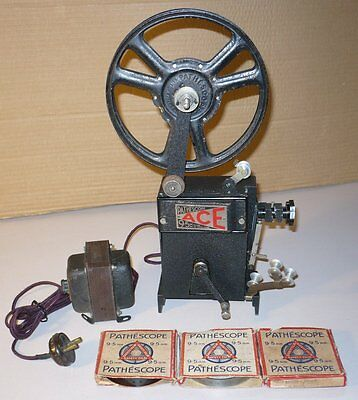 Vintage Pathescope Ace 9.5mm Projector with Transformer and 3 Films