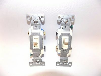 2X New Cooper Eaton 1303-7A Electrical Light Switch 3-Way Almond Toggle 15A 120V