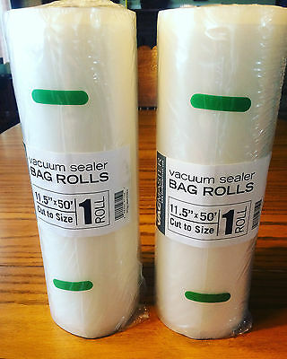"""2 Rolls 11"""" x 50' Roll Vacmaster Vacuum Sealer Bags! FREE same day SHIPPING!"""