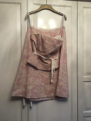 Coast jacquard wedding outfit skirt and top size 10 pink