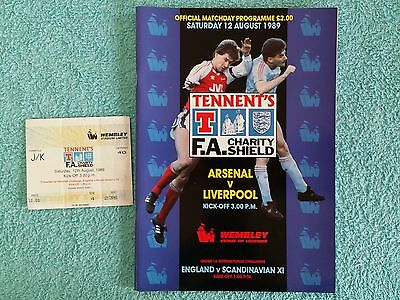 1989 - CHARITY SHIELD PROGRAMME + MATCH TICKET - ARSENAL v LIVERPOOL