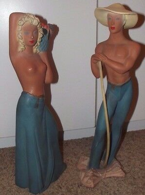 """Vintage 17"""" 1940 Art Deco Figurines Topless Man and Woman chalkware kitsch GREAT"""
