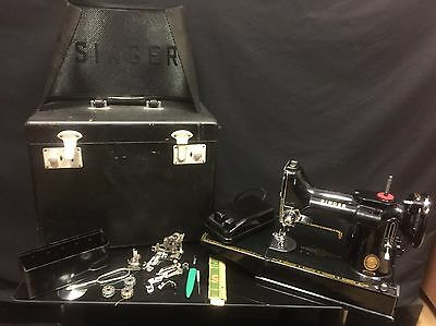 Singer 221K Featherweight Sewing Machine with Case and Accessories