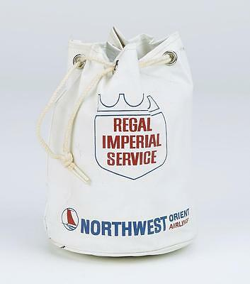 Vintage Northwest Orient Airlines Regal Imperial White Vinyl Carry On Tote
