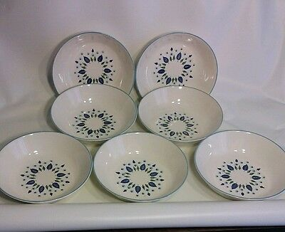 7 Stetson Marcrest SWISS CHALET ALPINE Soup Cereal Bowls Blue Green Vintage