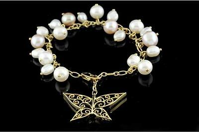 H. Stern 18K Butterfly and Pearl Charm Bracelet