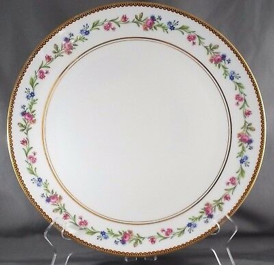 "Raynaud Country Flowers Chop Plate Pink Blue Floral w Gold Trim 11"" Limoges"