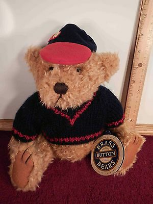 """NWT Pickford Brass Button Bears Plush Jointed 1996 """"Tully"""" 12"""" Baseball Cap"""