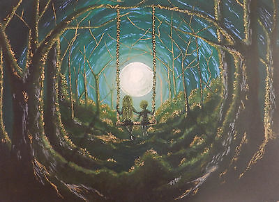 The Green Children of Woolpit - Original Painting - Acrylic on Canvas.