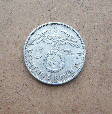 5 Reichmark German Silver Coin WWII 1938 Е Swastika