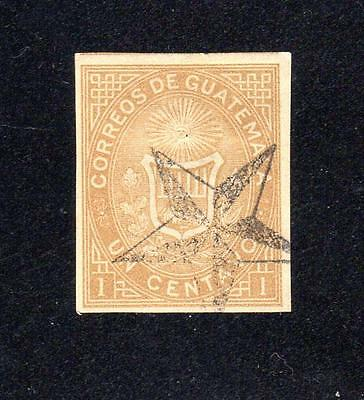 Guatemala Scott # 1a ~ 1 cent Issue, Ocher in color, imperforate ~ G BC 372
