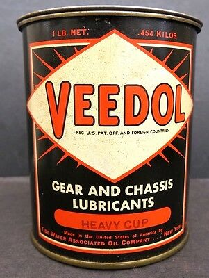 Vintage Full Unopened 1 Pound Veedol Grease Tin- Oil Can -Tide Water Oil Company