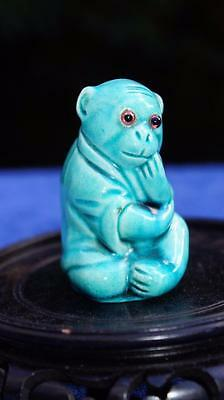 Rare & Beautiful Antique Burmantofts Faïence Monkey Grotesque Pottery Glass Eyes