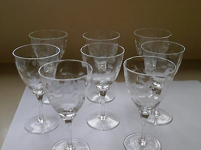 Set of Eight Fine Crystal Wine Glasses Etched with Leaf Pattern