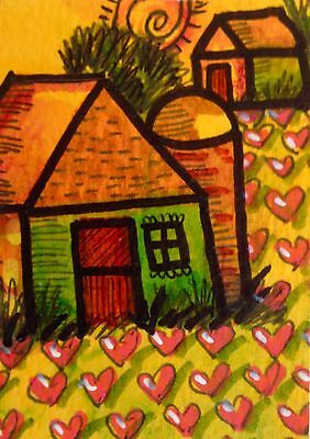 Aceo Heart Farm Ready For Valentines Day Original Watercolor And Ink