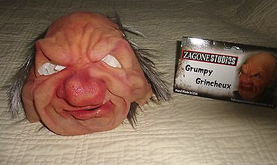 Old Grumpy Grincheux Man with Big Nose Halloween Mask Supersoft Moves with Face