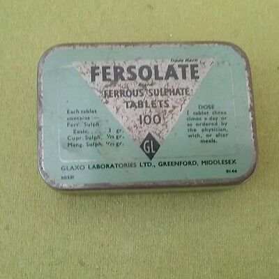 Vintage Fersolate ferrous sulphate tablet tin