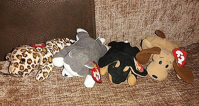 Teenie beanie babies x4 dogs and cats