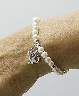 Freshwater Pearl Bracelet/Anklet with Sterling Silver 16th Birthday  Charm.