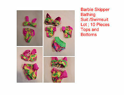 Barbie Skipper Bathing Suit /Swimsuit Lot ; 10 Pieces Tops and Bottoms