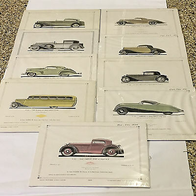 "l'Auto-Carrosserie Approx 8.5"" x 11""  Nine Car Prints on Mat Sealed"