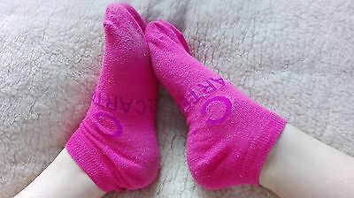 Womens Small Pink Ankle Socks used well loved worn cute sport ladies exercise