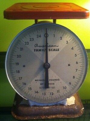 Vintage Shabby American Family Scale 25 Pound - Red And White