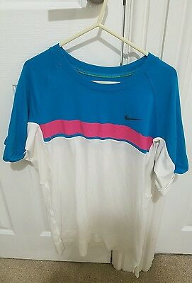 Nike Fit Dry Blue Pink Nadal Tennis Shirt Size L Australian Open 2009 RARE