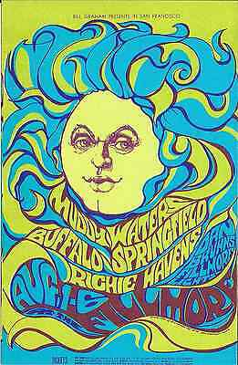 BUFFALO SPRINGFIELD Muddy Waters Richie Havens BG Concert Handbill Card  1967