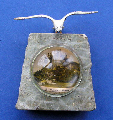 Vintage Cornish Serpentine With Seagull & View Of St. Michael's Mount