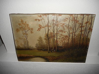Old oil painting,{ landscape with 2 women,  wagon & horse, is signed } Antique!