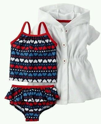 Carter's 2 Piece Swimsuit with Cover-Up Size Newborn NWT
