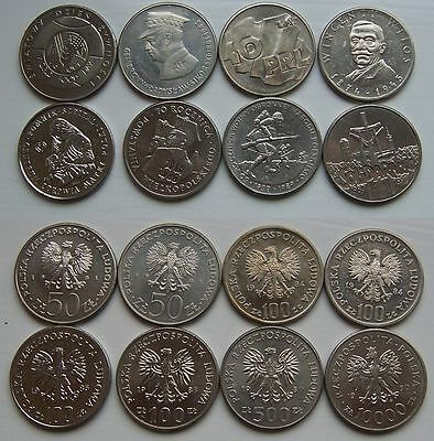 1981 - 1990 - 50-10.000 zlotych - 8 coins set -- used condition