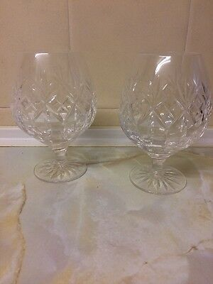 ROYAL DOULTON PAIR  GEORGIAN CUT GLASS BRANDY GLASSES Marked To The Base