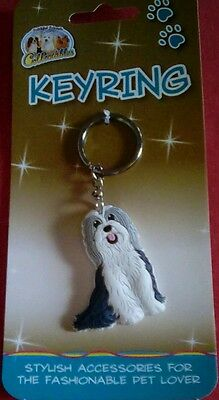 Beardie Collie Keyring