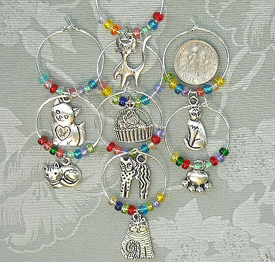 8 Cat Lovers Kittens Colorful Beads Silver Plated Wine Glass Charms SPCA