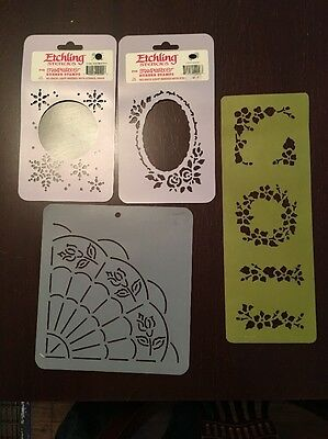 Lot Of 4 Stencils - Etchling, Etc. Fan Flora More!