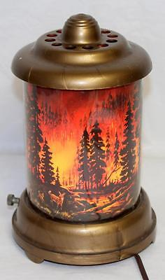 Vintage c.1950 Forest Fire Motion Lamp Scene In Action - Watch the Video