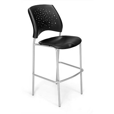 OFM Stars CafT Height Plastic Chair, Black