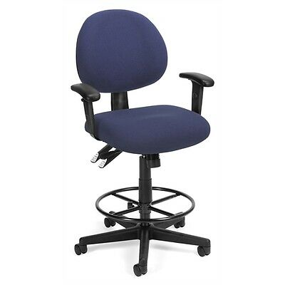 OFM 24 Hour Computer Task Chair with Arms and Drafting Kit, Blue